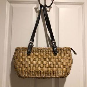 Shoulder straw woven handbag